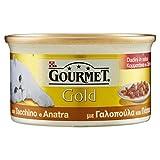 Gourmet Gold Alimento per il Gatto Dadini in Salsa con Tacchino e Anatra, 85 g - Confezione da 24 Pezzi