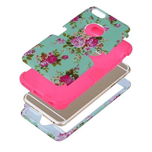 """iPhone 6 Plus Hülle,iPhone 6S Plus Hülle,Lantier Blumen Muster 3 in 1 hybride hohe Auswirkung schroff schockfeste schützende Fall Abdeckung für iPhone 6 Plus /6S Plus 5.5"""" Minze Grün+Rosa Mint Green+Hot Pink"""