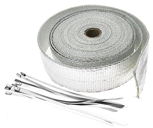 10m Alu beschichtet Hitzeschutzband Auspuffband Hitzeschutz mit Kabelbinder