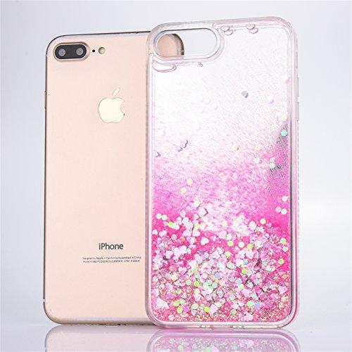 iPhone 8 Hülle, Voguecase Flüssig Diamant Schwimmend Treibsand Glitzer Bling Silikon Schutzhülle / Case / Cover / Hülle / TPU + PC Gel Skin für Apple iPhone 7/iPhone 8 4.7(Liebe/Pink) + Gratis Univers Liebe/Rose