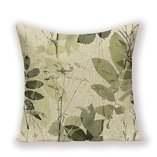 CHDMYTG Fodere per cuscini decorativi Vintage Pianta Verde Cuscino per Fiori Pianta...