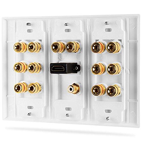 Fosmon [3-Gang 7.1 Surround Sound] Heimkino-Wandplatten Vergoldet Kupfer-Banane Bindung Pfosten Coupler Typ Wandplatte für 7 Lautsprecher und 1 RCA Buchse für Subwoofer & 1 HDMI Ports (Weiß) - 3