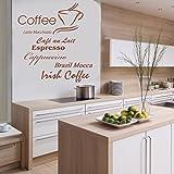 Indigos w198 Wandtattoo Küche Kaffee mit Coffee, Cappuccino und Kaffeetassen Motiv, selbstklebendes Wandbild ideal für Esszimmer und Gastronomie, 80x79, braun