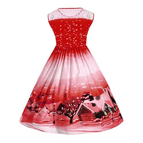 Bluestercool Femmes Dentelle Swing Robe Noël Impression Robe Grande Taille Rouge