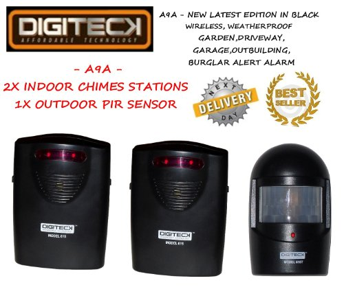 Preisvergleich Produktbild A9A-NEW LATEST EDITION IN BLACK Weatherproof and Wireless burglar alarm and / or visitor alert. Perfect for Garden,  Sheds,  Garages,  Lock-ups,  Summer Houses,  Boats & Caravans Etc by Digiteck
