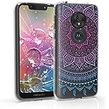 kwmobile Motorola Moto G7 Play Hülle - Handyhülle für Motorola Moto G7 Play - Handy Case in Blau Pink Transparent