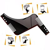 The Beard Styling Template, Beard Shaping Tool -Stencil for Men - Lightweight and Flexible - One Size Fits All - Curve Cut, Step Cut, Neckline & Goatee(Brown)