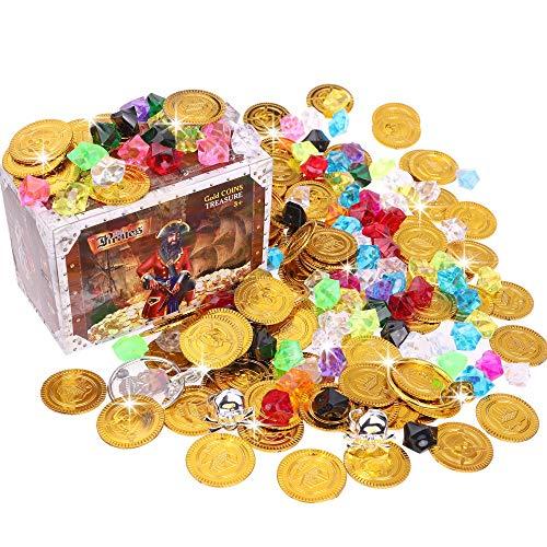 Goldge Goldmünzen Piratenschatz Spielgeld Münzen Spielzeug Mitgebsel für Kinder Geburtstag Partys mit Schatztruhe 205pcs