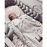 LFEWOX Baby Bettumrandung, 4M Nestchen Bettschlange Babybett Stoßstange Weben Kantenschutz Kopfschutz Dekoration für Krippe Kinderbett (Pink Weiß Grau),D,4M/157in