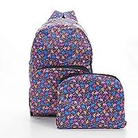 Faye UK Ltd. Eco-Chic Foldable Expandable Backpack Lightweight Ditsy Doodle Purple