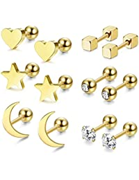 8aeba13e3 Jstyle 4-6 Pairs Stainless Steel Ball Stud Earrings for Men Women CZ  Cartilage Helix