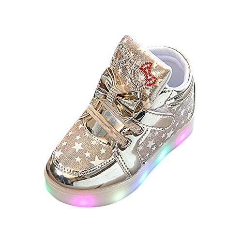 (Fenverk Kinder Kind Star Bowknot Crystal Mesh LED Licht Leuchtend Turnschuhe Schuhe Baby Warm Winter Kleinkind BeiläUfig Mode Atmungsaktiv Stiefel(Gold,20 EU))