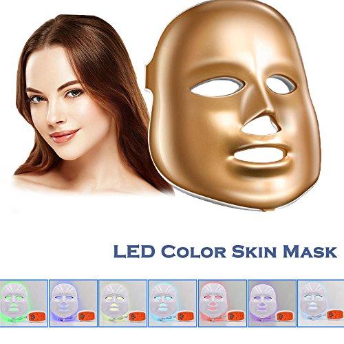 [nueva versión 2018] Havenfly LED terapia de fotones 7 color luz tratamiento piel rejuvenecimiento blanqueamiento facial belleza diaria cuidado de la piel máscara (de oro)