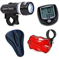 Front and Rear Bike Lights with Wireless Computer Speedometer and Gel Seat Cover