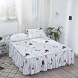 Hllhpc Jupe de lit Couvre-lit Une pièce 1,8 m Couvre-lit Couvre-Matelas Simmons