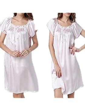 CHUNHUA 100% seta camicia da notte allentata la signora paragrafo pigiama tuta dolce , champagne , mean