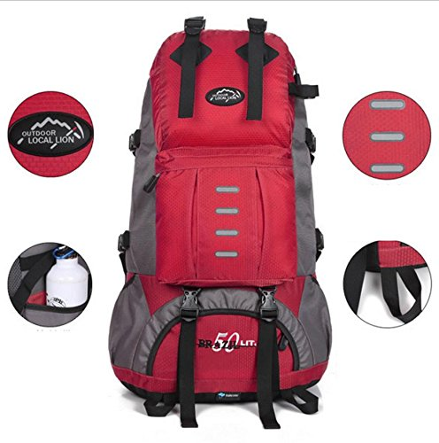 All'aperto alpinismo borsa pacchetto trekking zaino poliestere per il tempo libero turismo viaggi per uomini e donne 50L , blue Red