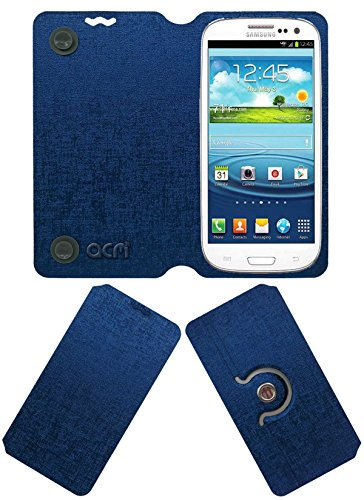 ACM Designer Rotating Flip Flap Case for Samsung Galaxy S3 Neo I9300i Mobile Stand Cover Blue