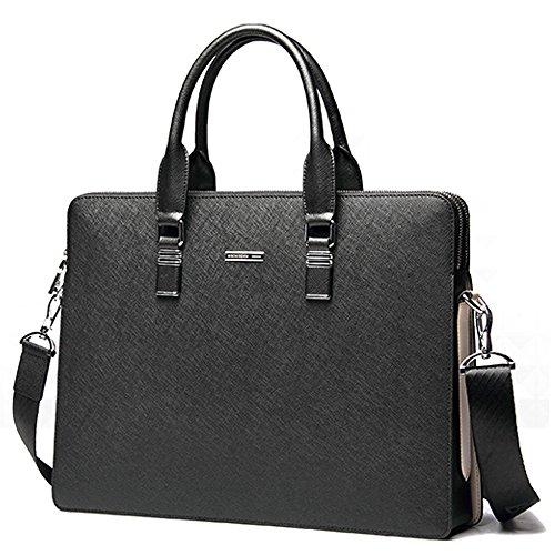 BINSON DENIM Herren Leder Aktentasche Herren Handtaschen Herren Umhängetasche Herren Laptop Tasche Hohe Qualität N2285 (Blau) Schwarz