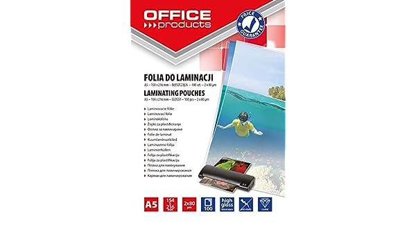 /90/Pellicola per Plastificatrice A5 2/X 80/Micron lucido trasparente Office Products 20325215/ 100/pezzi