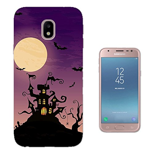 002812 - Scary Haunted House Halloween Full Moon Bats Design Samsung Galaxy J5 2017 (EU Version) Fashion Trend Silikon Hülle Schutzhülle Schutzcase Gel Silicone - 2017-trends Halloween