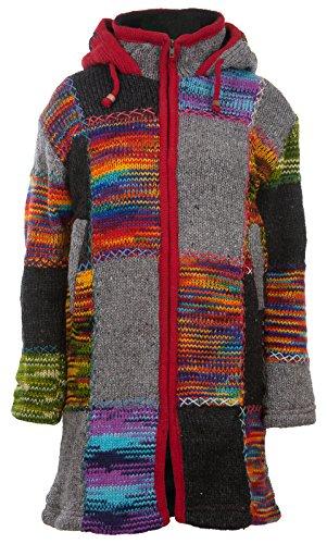 Bunter Patchwork Mantel | Damen | Nepal-Mantel mit Patches | Wollmantel | Warmes Fleece Innenfutter