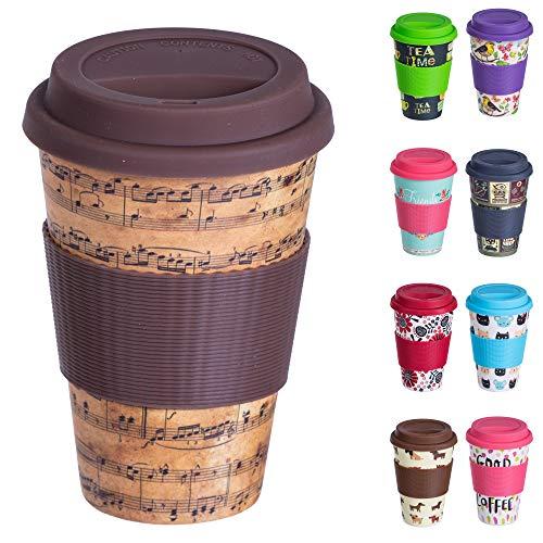 Bamboo Cup Wiederverwendbare Kaffeebecher aus Bambus mit Silikonhülle, Dichtungsdeckel und Schluckloch - Öko-Tasse aus Bambus, lebensmittelecht, spülmaschinenfest (400 ml) Notation