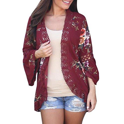 Vovotrade Mujer Encaje Floral Abierto capa Casual Capa Suelto Blusa japonés kimono Chaqueta Cárdigan (XL, Rojo)