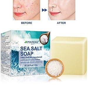 Jabones faciales, Jabón de hecho a mano, Jabón de sal de mar,Jabón de leche de cabra,Espinilla Poros Remoción…
