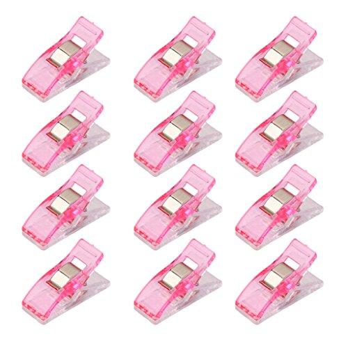 Lot de 50Pcs Clips Pinces en Plastique pour Reliure Couture Artisanat Rose et Transpa