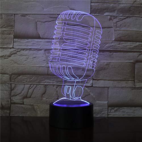 Schreibtischlampe Kinder,Mikrofon Modell 3D Visuelle Illusion Lampe Led Nachtlicht 7 Farben Nachtlampe Für Cafe Bar Decor Singen Party Geschenk Mit fernbedienung