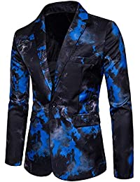 Giacca da Uomo Slim Casual Blazer Stampato Fit Casual Moderna Blazer Suit Stampato  Fantasia Giacca Sportiva 8cb9c765453