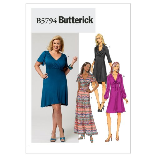 Butterick Schnittmuster 5794 RR Damen Kleid,Dress,Habiller in 4 Varianten Gr. 18W - 24W (44-50) 24w Kleid