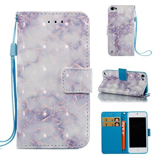 Cozy Hut iPod Touch 5/6 Hülle, PU Leder Buntes Marmor Muster Flip Wallet Case mit Standfunktion Karten Slot und Magnetverschluß Hülle für iPod Touch 5/6 - Lila und weißer Marmor -