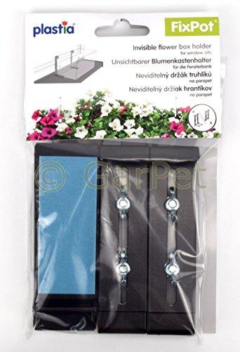 FixPot Halterung Blumenkasten Fensterbank unsichtbare Befestigung ohne Bohren schokolade