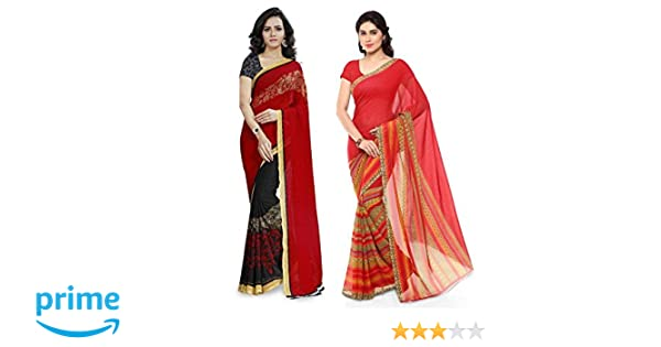 d345bf0a11a Anand Sarees Synthetic Saree with Blouse Piece (Pack of 2)  (COMBO 1190 3 1164 1 Red Free size)  Amazon.in  Clothing   Accessories