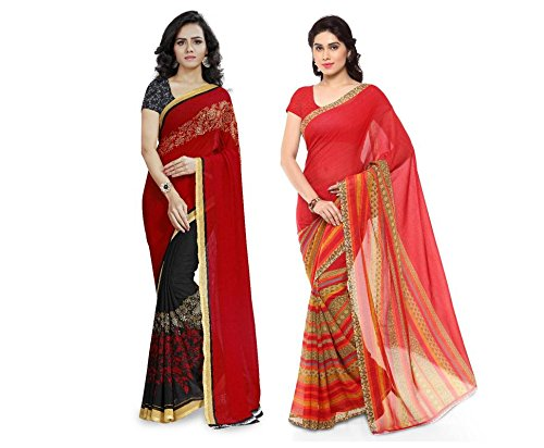 Anand Sarees Faux Georgette Combo Of Saree (Mnp_1190_3_1164_1_Multicolor_Free Size)