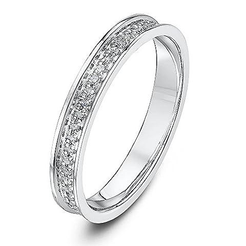 Theia Palladium 950 Flat Court Shape 0.15carat Round Diamond Pave Set 3mm Eternity Ring - Size N