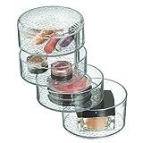 InterDesign 52550EU Rain Schwenkbarer Kosmetik-Organizer mit Deckel für Waschtisch Schrank zum Aufbewahren von Makeup, Kosmetika - durchsichtig, Plastik, clear, 11.43 x 11.43 x 18.0848 cm