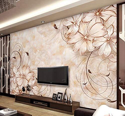 Fotomurali Elegante Adesivo Motivo Floreale Foto Wallpaper Personalizzato 3D Carta Da Parati Camera Da Letto Ufficio Hotel Modern Art Room Decor Interior Design-280X200Cm,Carta da parati
