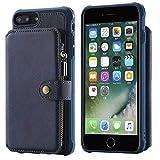 BoxTii iPhone 7 Plus/iPhone 8 Plus Hülle, PU Leder Multifunktion Brieftasche Magnetisch Schutzhülle mit Frei Panzerglas Displayschutzfolie für Apple iPhone 7 Plus/iPhone 8 Plus (Blau)