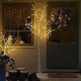 festlicher Schnee-Effekt Deko Baum - 180cm - mit eleganter Mikro-LED Zweigbeleuchtung auf filigranen Metalldraht, von Festive Lights (Birkenweiß)