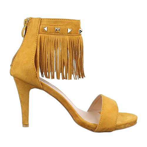Altos Franjas J 2 Sandálias Sapatos Saltos Amarelo Senhoras xwCqXfYRF