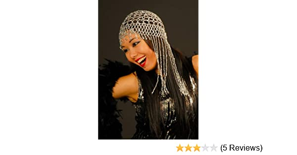 39fe14edcf3 Ladies Flapper Girl 1920 s Silver Beaded Headpiece Skull Cap  Amazon.co.uk   Toys   Games