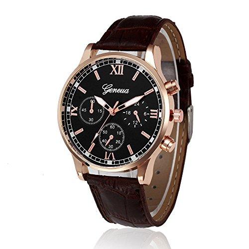 Doingshop Männer Armbanduhr Vintage Design Ledergürtel Analog Legierung schwarz braun Lederarmband Quarz Uhr