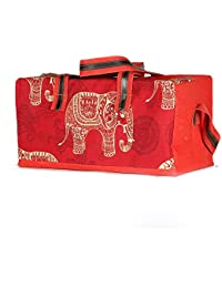 Red 100% Cotton Canvas Elephant Print Travell Duffel Bag