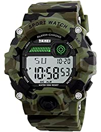 Niños electrónico Digital Led reloj para hombre resistente al agua militar deportes  reloj banda de silicona alarma… eae3a2849e97