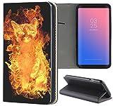 Samsung Galaxy S3 / S3 Neo Hülle Premium Smart Einseitig Flipcover Hülle Samsung S3 Neo Flip Case Handyhülle Samsung S3 Motiv (633 Katze Feuer Flammen Schwarz Gelb)