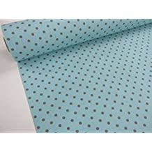 Metraje 0,50 mts tejido loneta estampada Ref. Lunares Culla fondo Azul Pastel, con ancho 2,80 mts.