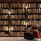 HOMEEN HD Tapete Individuelle Fototapete 3D-europäischer Stil Retro-Sofa TV-Hintergrund-Tapete Wandwandregal Bücher Bücherregal Wandwand-Papier, 200x140 cm (78,7 nach 55,1 in)